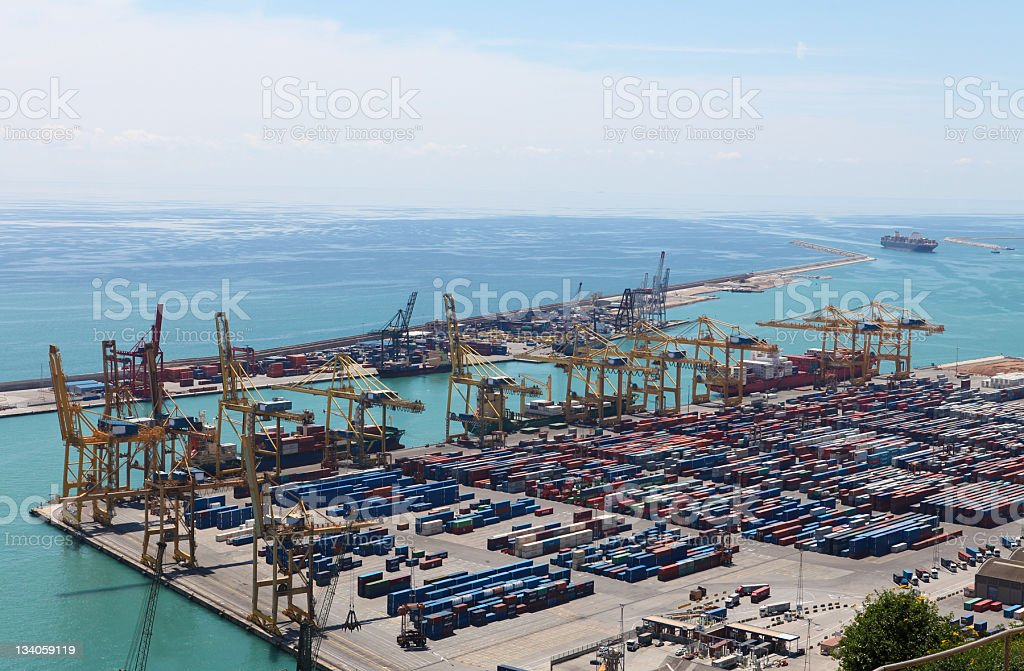 Container Port in Barcelona royalty-free stock photo