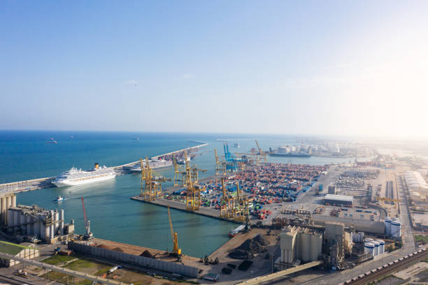 Containerhafen im Hafen von Barcelona, Spanien – Foto