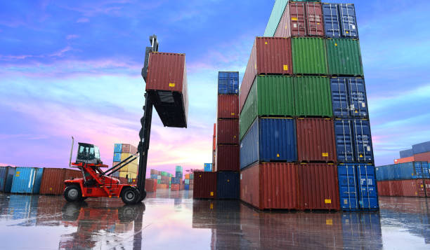 Container reach stacker at depot. stock photo