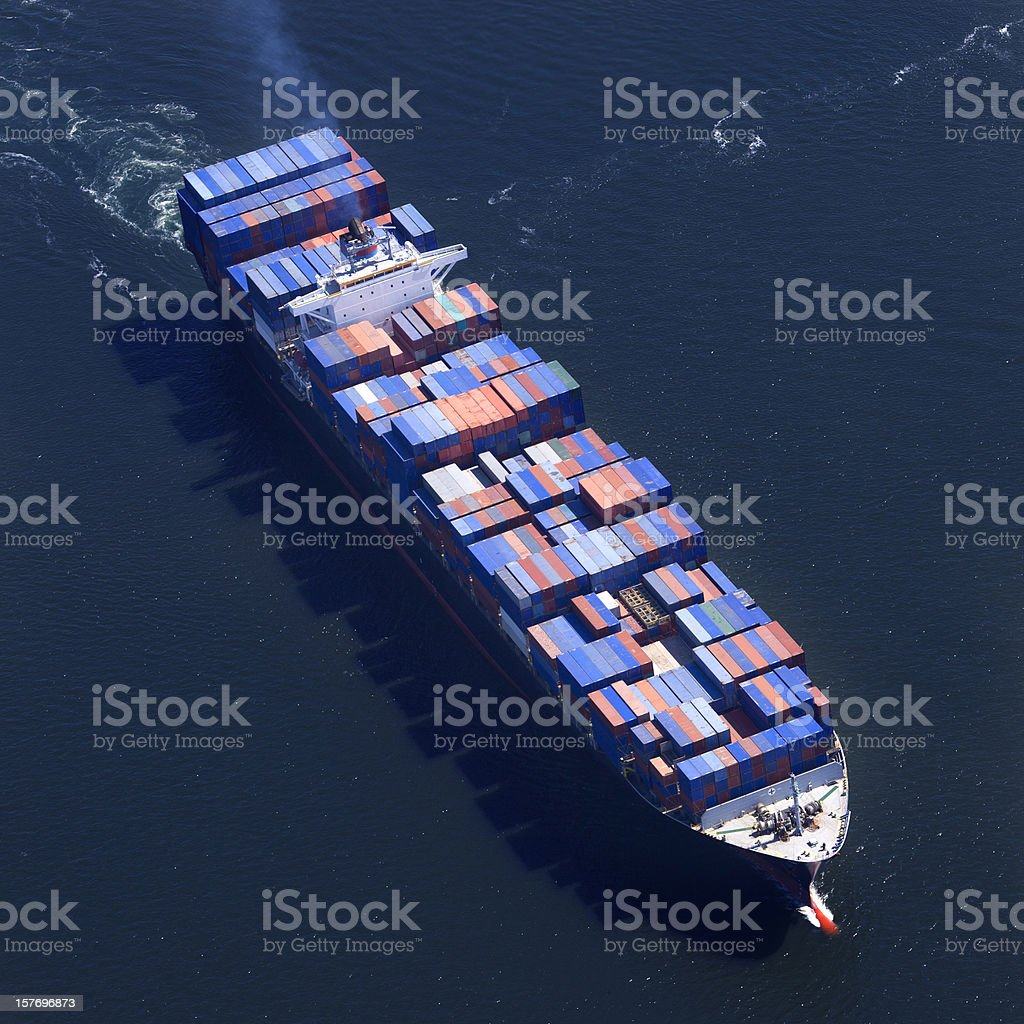 Container Ship Aerial Photo royalty-free stock photo