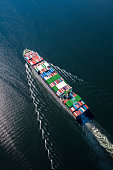 Aerial photo looking down to a large container ship sailing through open water.