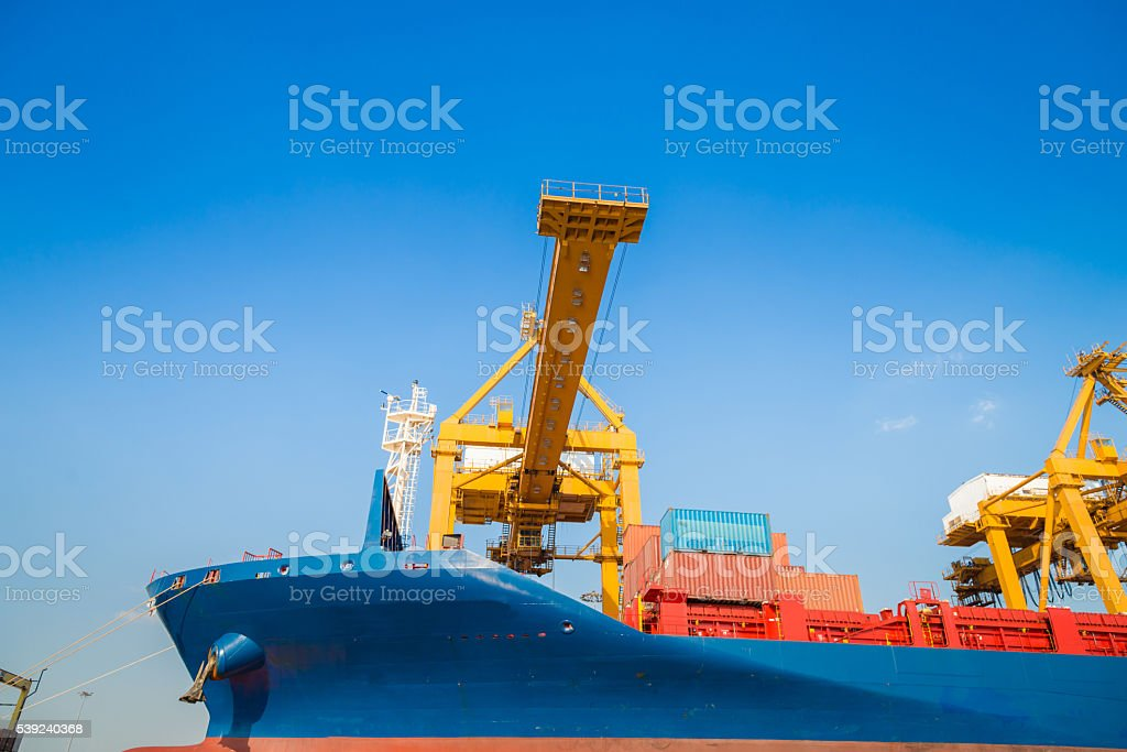 Container ship and cargo logistic the harbor in Asia , royalty-free stock photo