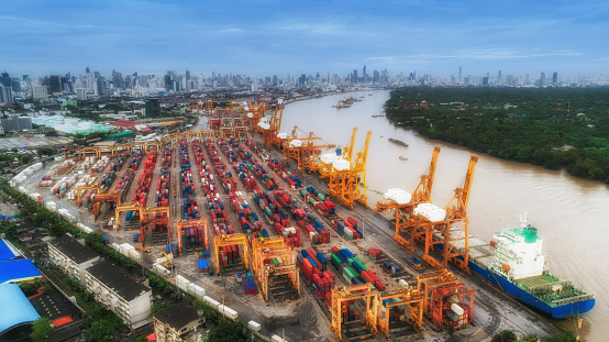 Container Ship And Container Warehouse From Sea Port Working For