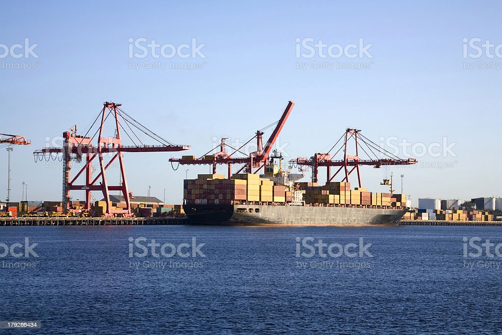 Container Ship at Loading Wharf royalty-free stock photo