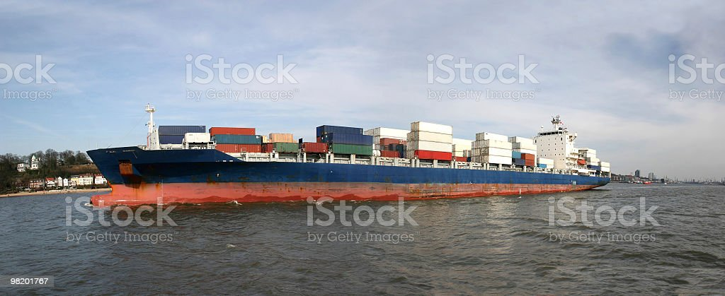 Container ship at river Elbe in Hamburg royalty-free stock photo