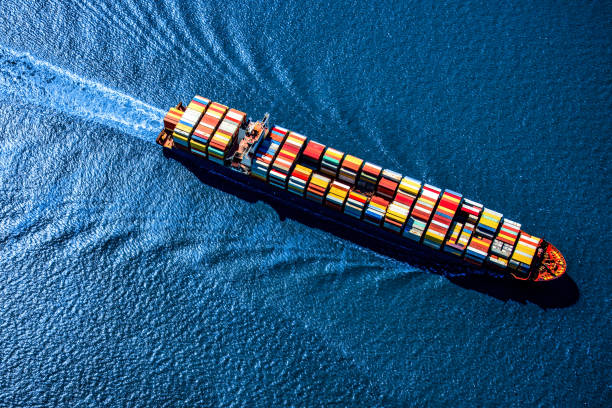 Container Ship at Sea stock photo