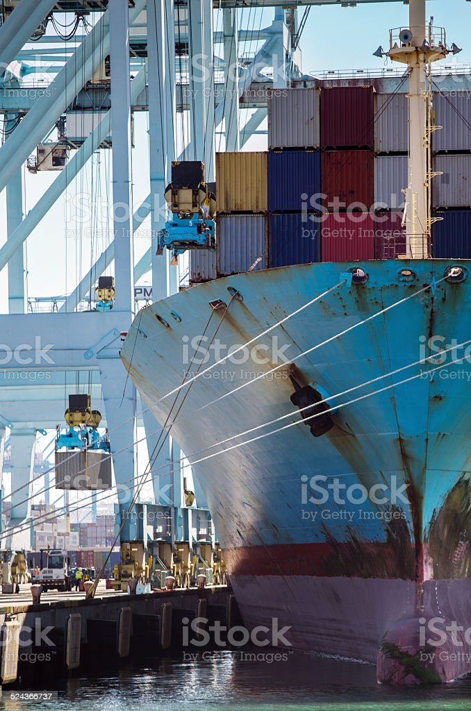 Container Ship Being Loaded stock photo