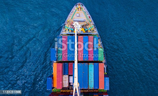 Container Ship from sky view.