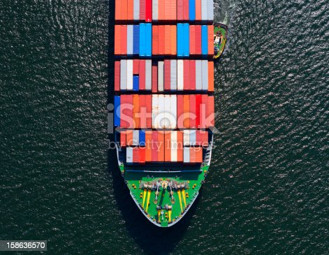 Aerial photo of the front end of a large fully loaded container ship.