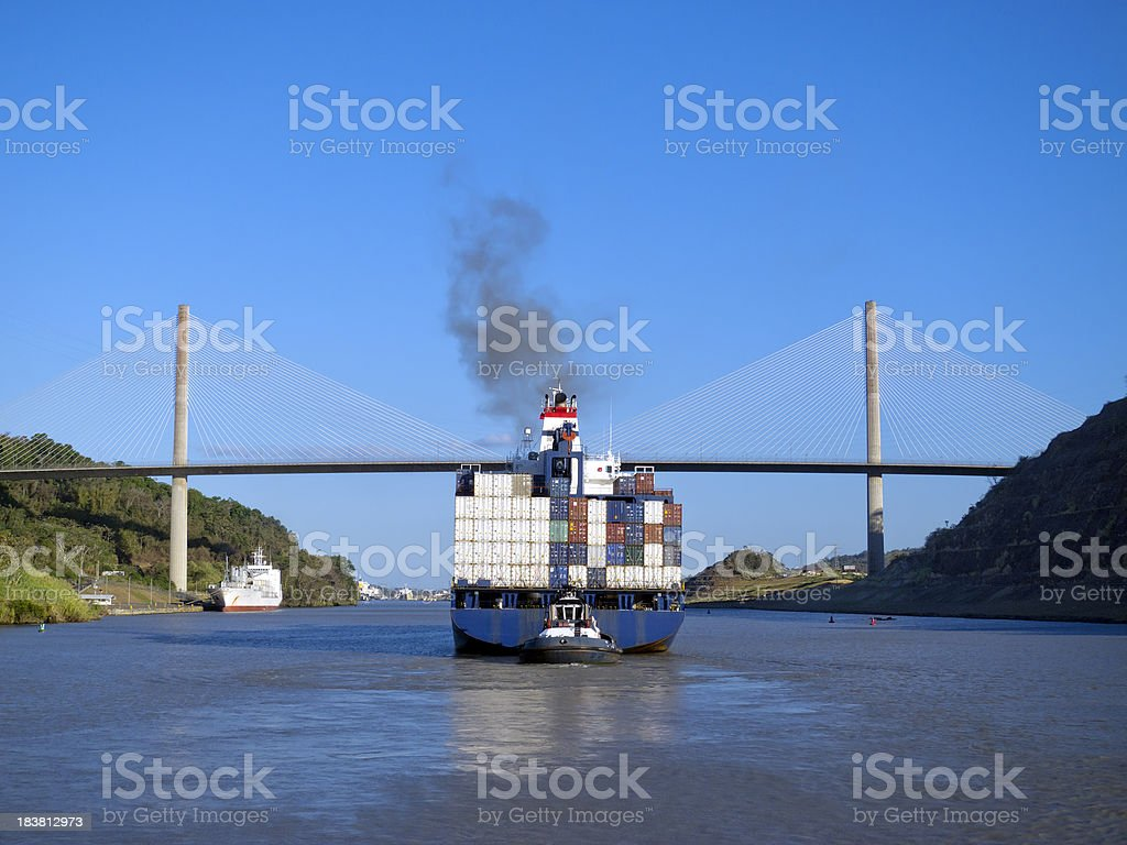 Container ship bridge Panama Canal stock photo