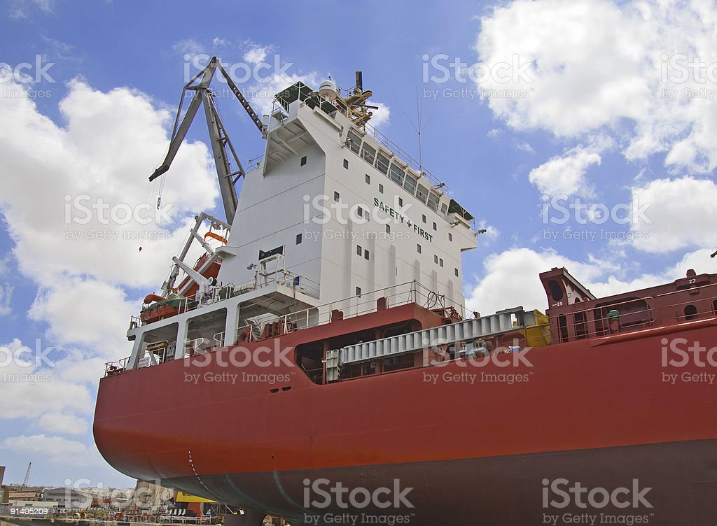 Container Ship control tower stock photo