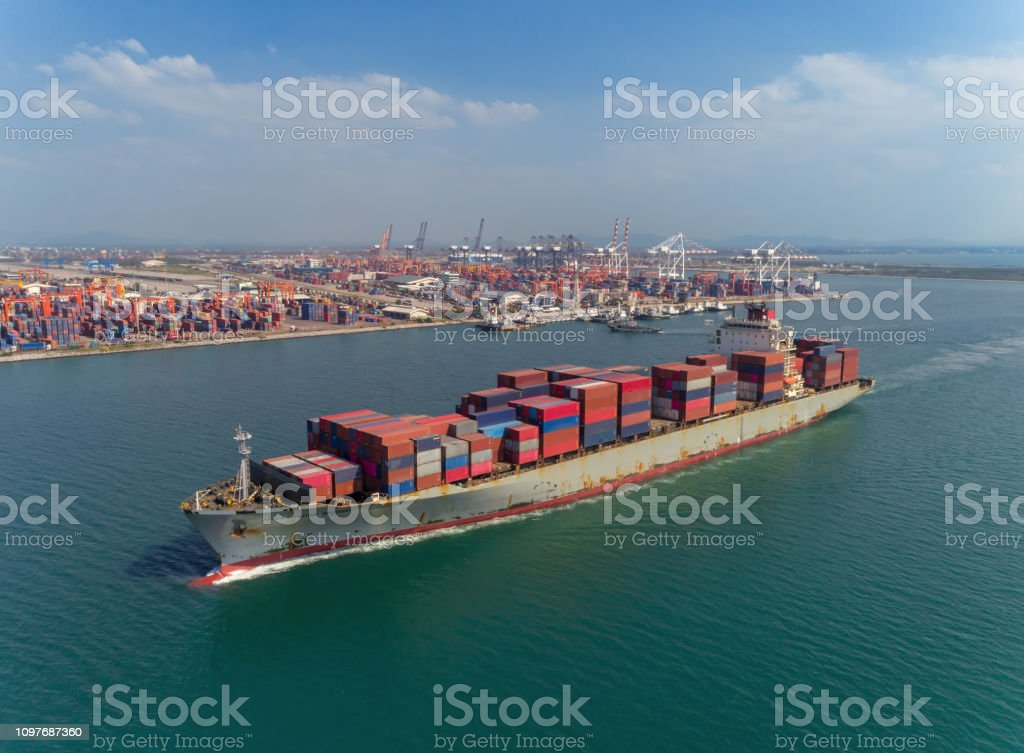 Container Ship Driving From Sea Port Logistics Business