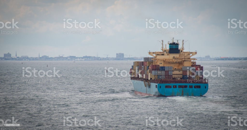 Container Ship Enroute to Port stock photo