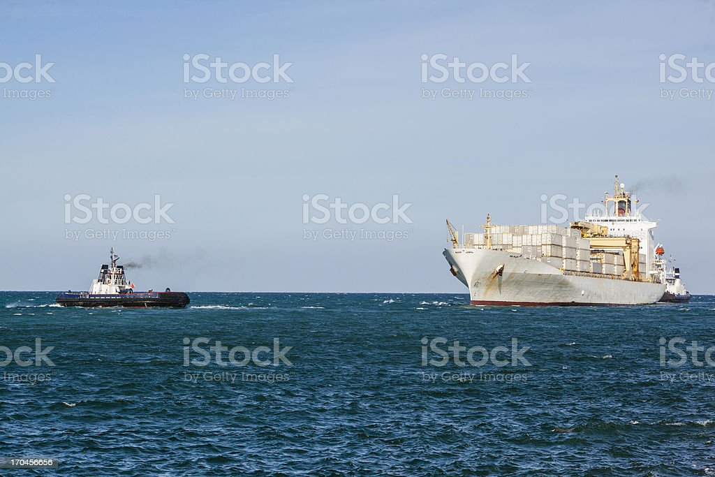 Container Ship go to the port in Fort Lauderdale royalty-free stock photo