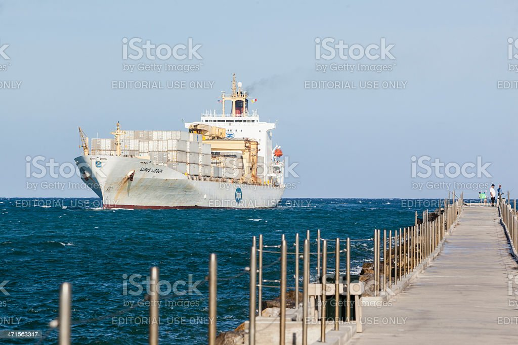 Container Ship going to the port in Fort Lauderdale royalty-free stock photo