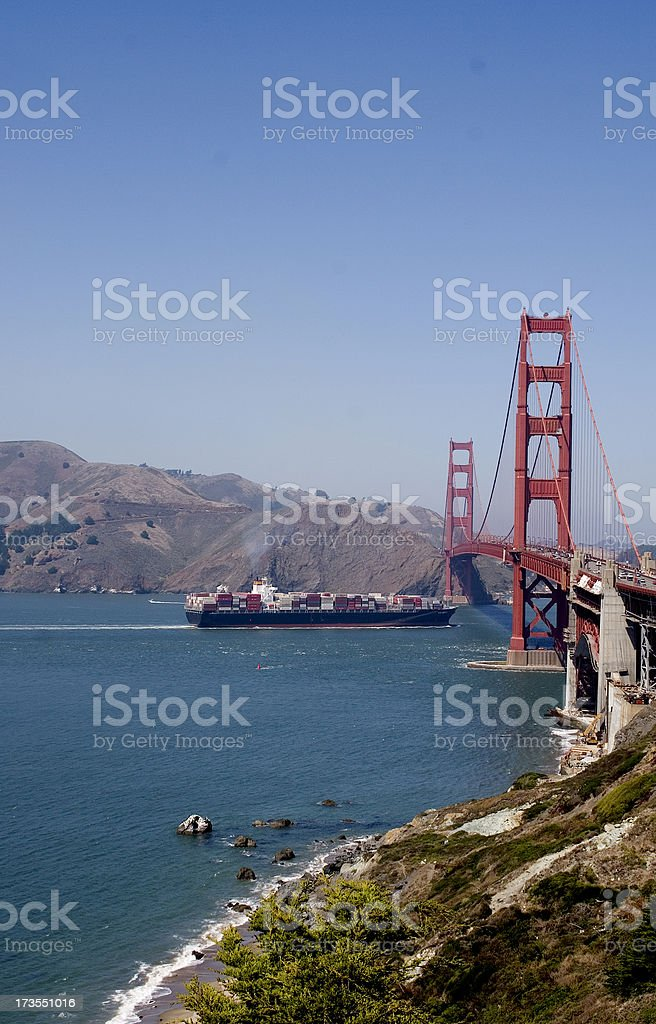 Container Ship Going Under Golden Gate Bridge royalty-free stock photo