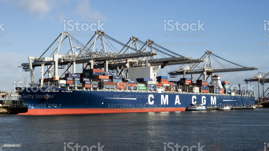 Container ship harbor cranes stock photo