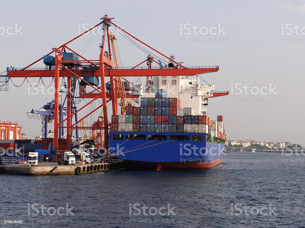Container ship in a harbour in Istanbul stock photo