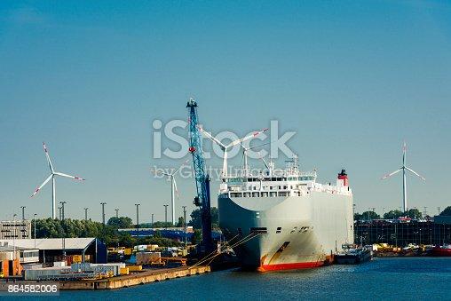 istock Container ship in Bremerhaven harbor 864582006