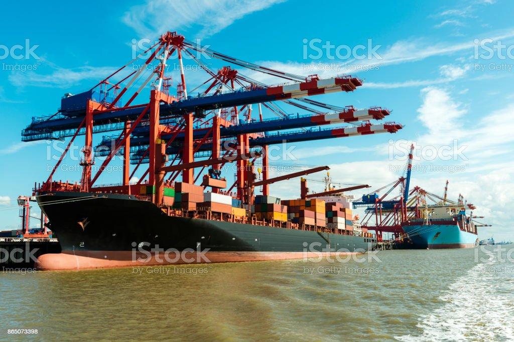 container ship in Bremerhaven harbor stock photo