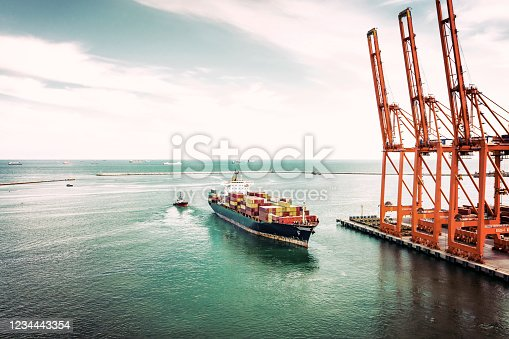 Retro style photo of container ship in export and import. International shipping cargo.