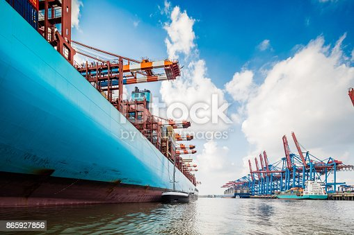 istock Container ship in Hamburg harbour 865927856