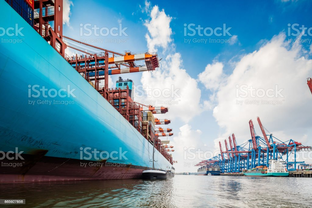 Container ship in Hamburg harbour stock photo
