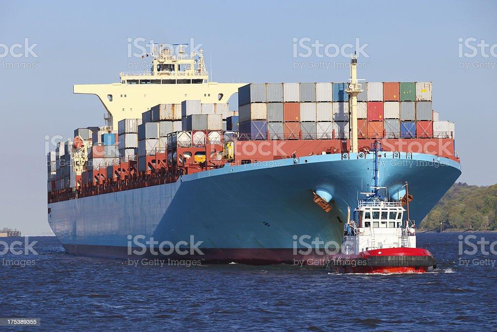 Container ship in Hamburg stock photo