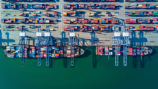 Container Ship In Import Export And Business Logistic By Crane Stock Photo - Download Image Now