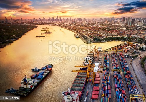 istock Container ship in import export and business logistics, By crane, Trade Port, Shipping cargo to harbor 849125726