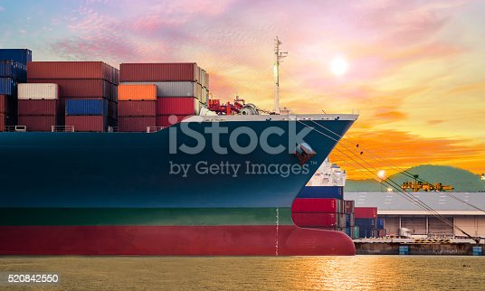 istock Container ship in import,export port at the harbor 520842550