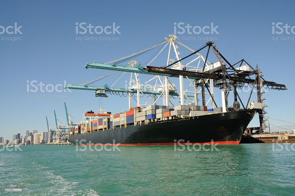 Container Ship in Industrial Port royalty-free stock photo