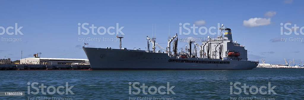 Container Ship in Pearl Harbor stock photo