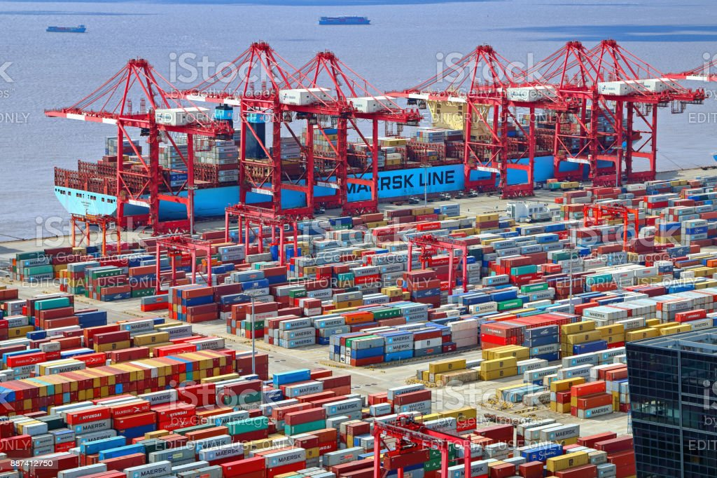 Container ship in Shanghai Port stock photo
