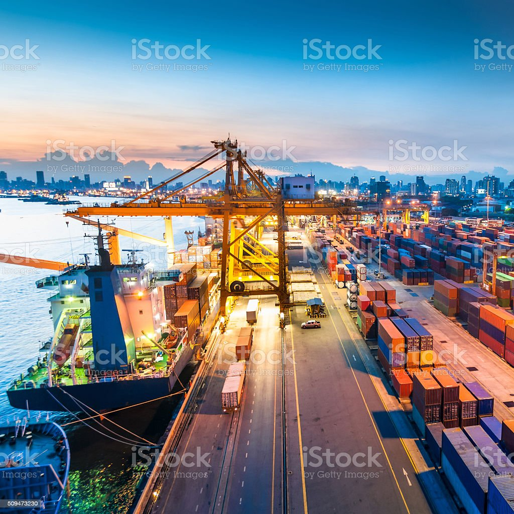 Container ship in the harbor in Asia , stock photo