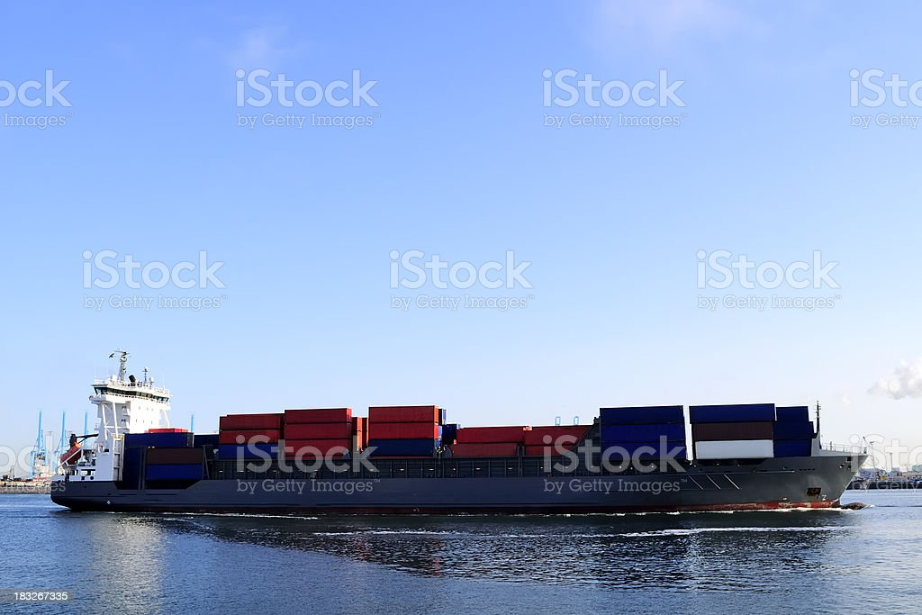 Container ship in the harbor royalty-free stock photo