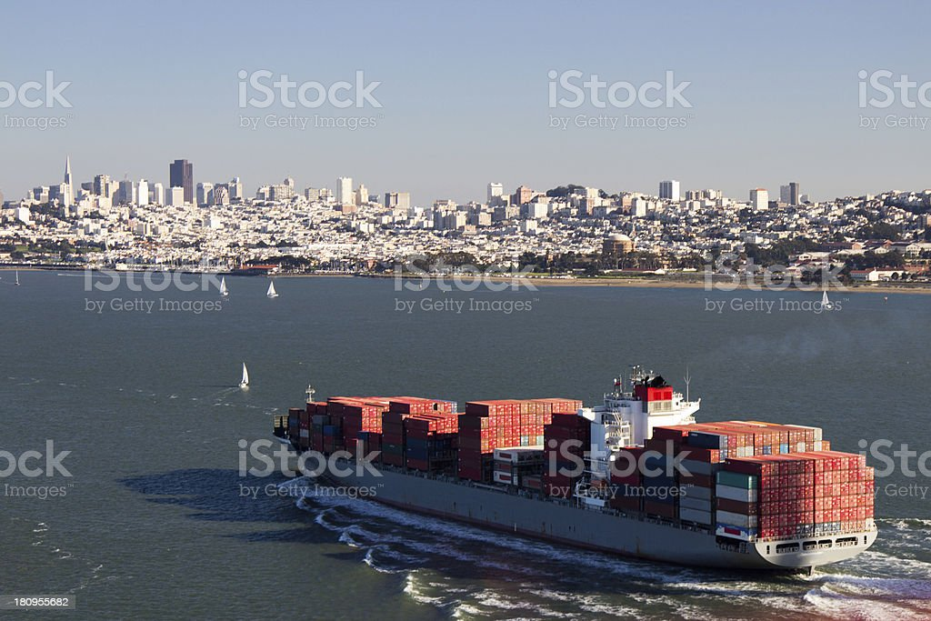 Container Ship in the San Francisco Bay royalty-free stock photo