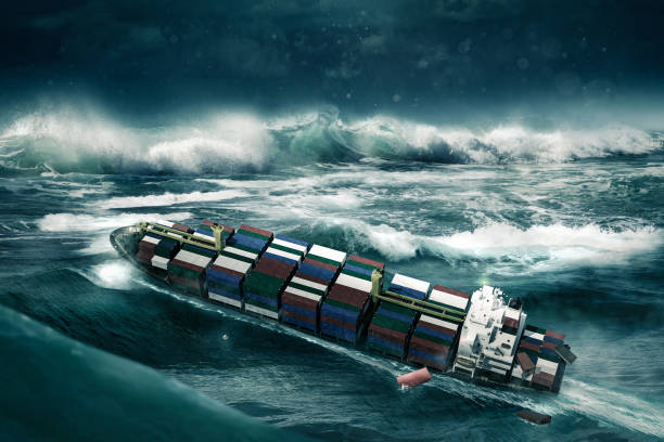 風暴中的集裝箱船 - 亂流 個照片及圖片檔