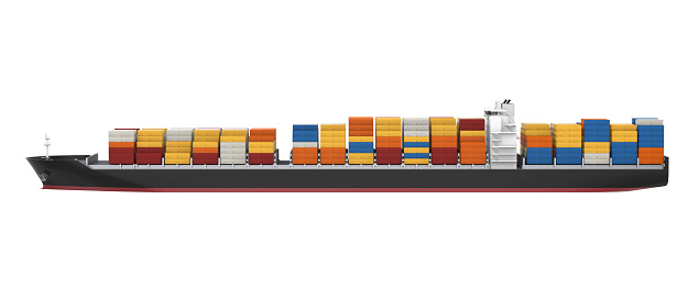 Container Ship isolated on white background. 3D render