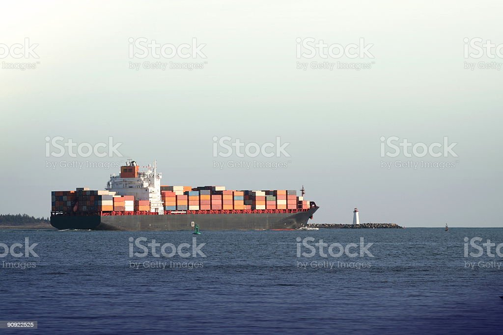 Container Ship Leaving Harbour royalty-free stock photo