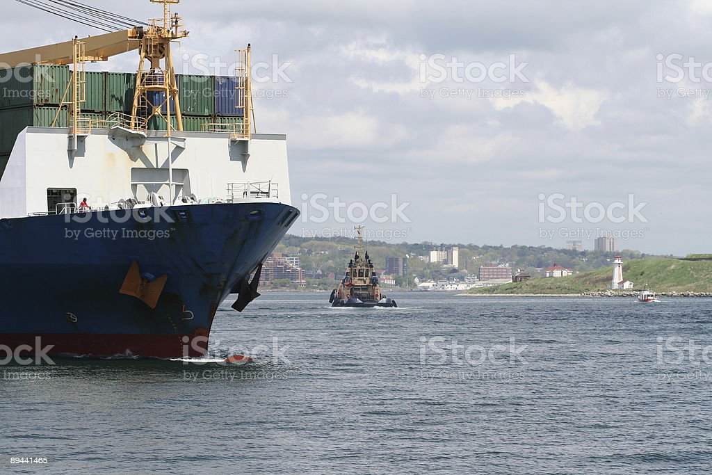 Container Ship Leaving Port Series - 2 royalty-free stock photo