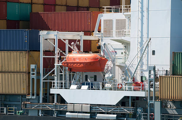 Container Ship Lifeboat stock photo