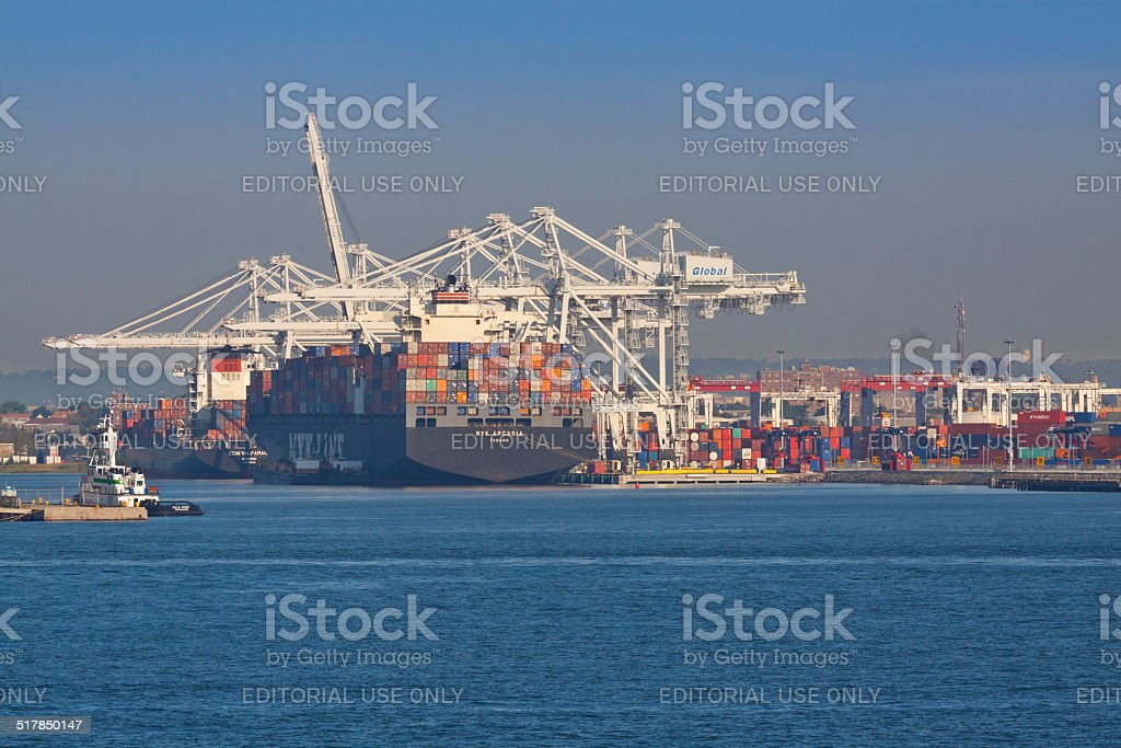 Container Ship loading in Port-Bayonne. stock photo