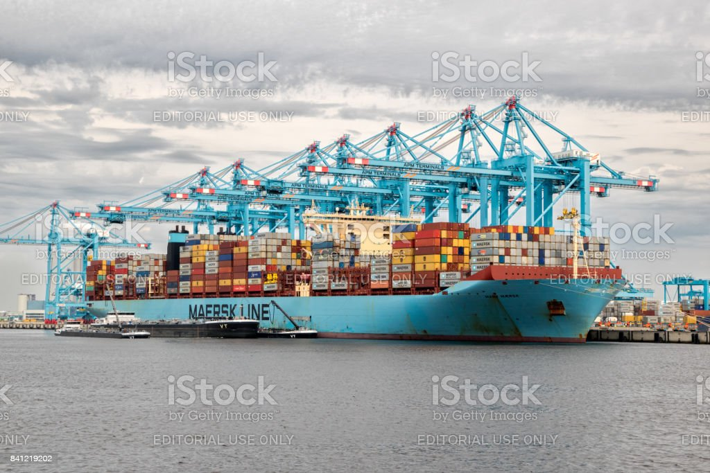 Container ship moored at gantry cranes in the Port of Rotterdam stock photo