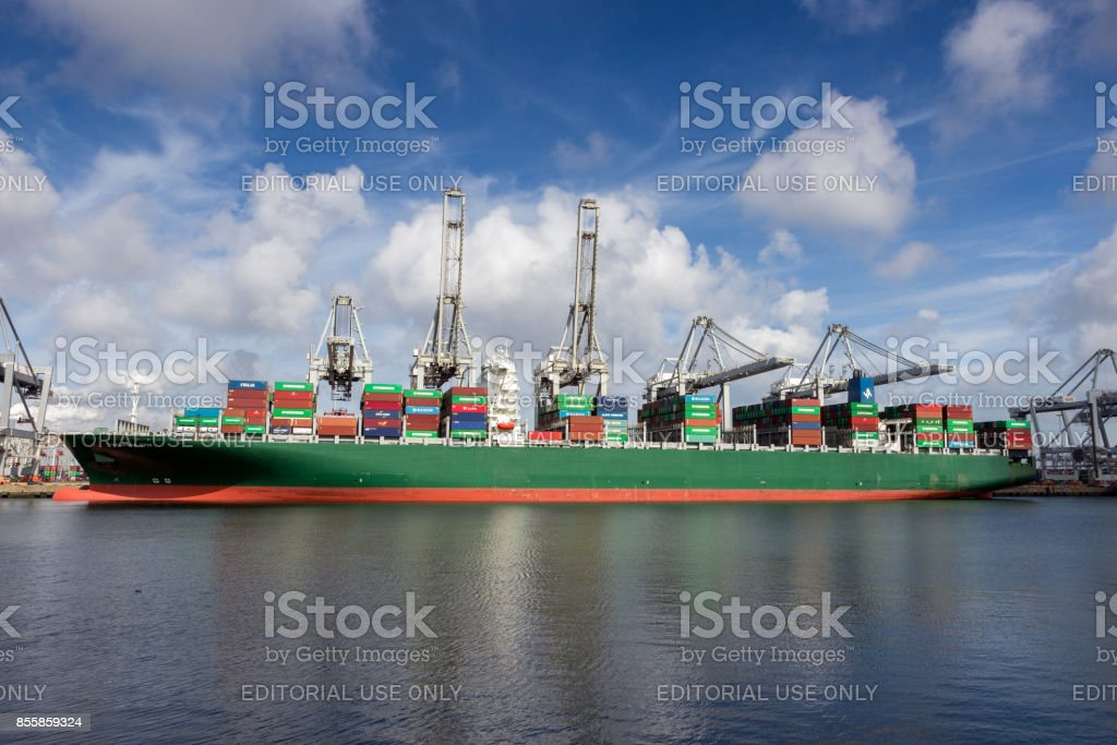 Container ship moored Port of Rotterdam stock photo