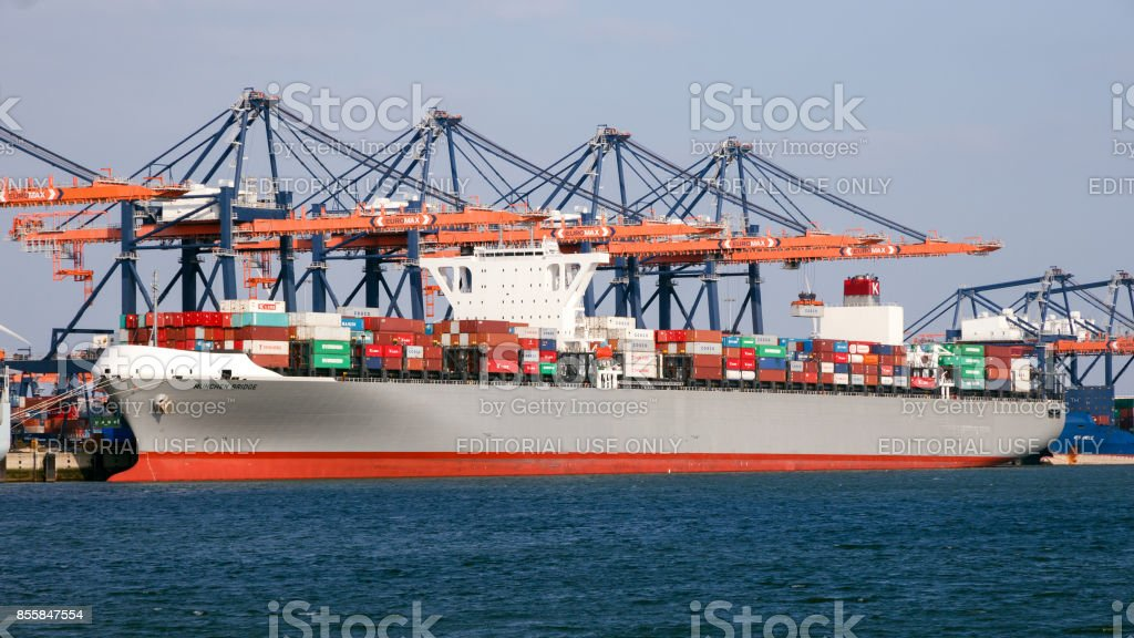 Container ship moored port stock photo