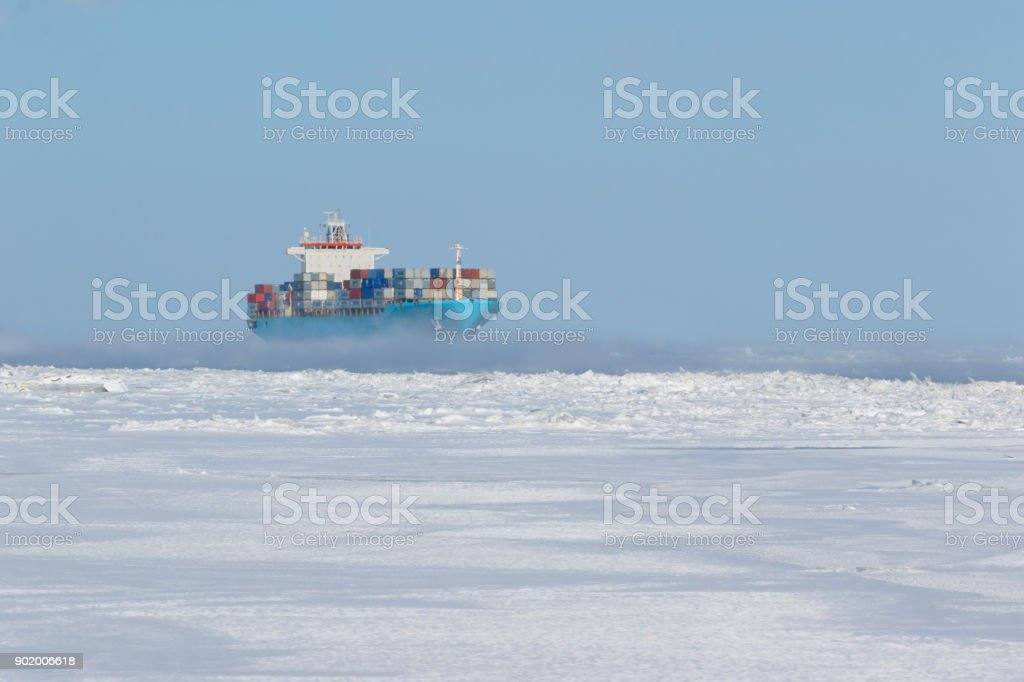 Container ship on icy waters стоковое фото