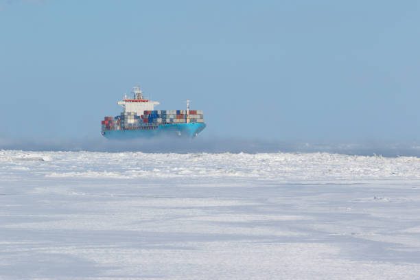 Cтоковое фото Container ship on icy waters
