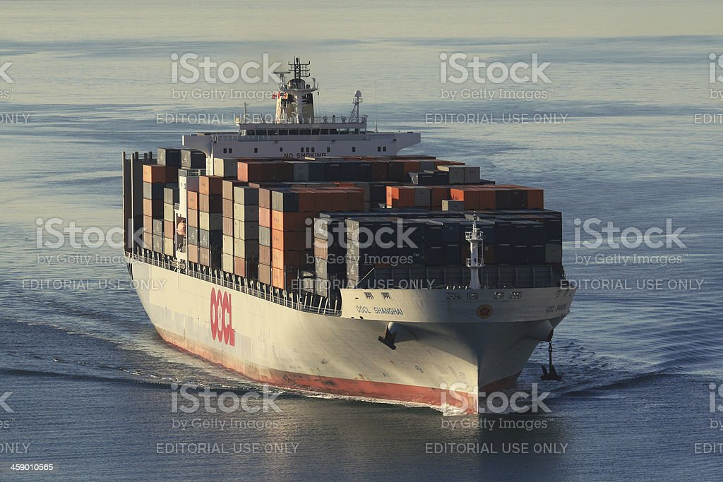 Container Ship OOCL Shanghai royalty-free stock photo