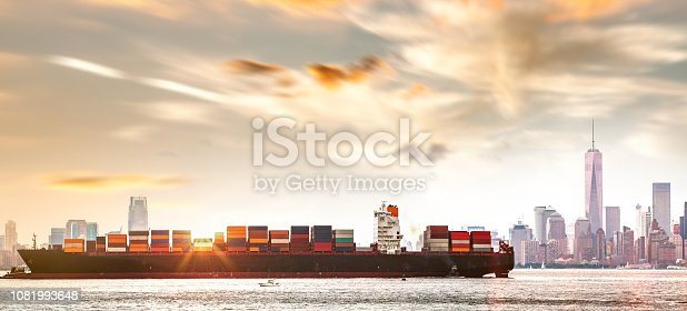 Container ship out of New York City harbor